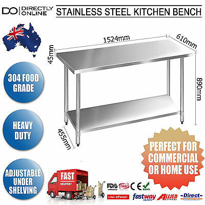 304 Food Grade Stainless Steel Work Bench Kitchen Table Home Or Business New