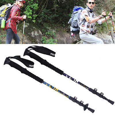 3-Section Outdoors Carbon Alpenstock Fiber Trekking Hiking Walking Sticks Poles