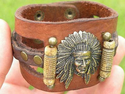 Indian Chief head penadant and  genuine Buffalo Bison leather cuff bracelet wristband  black color nice gift for  motorcycle biker