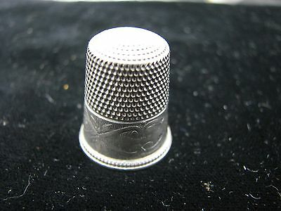 Antique Sterling Silver Thimble Fancy Scroll Panels #11
