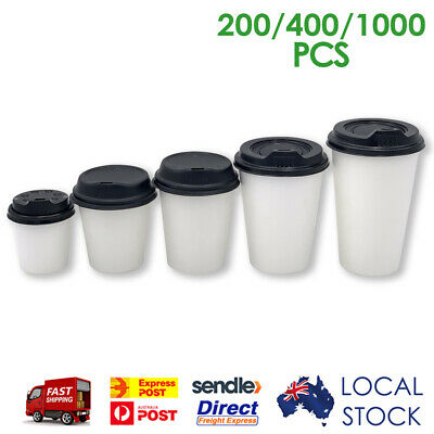 Take Away Single Wall Coffee Cups White (4/6/8/12/16oz) w/ Sipper Lid | BULK BUY