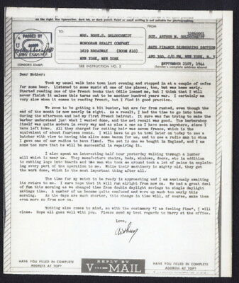 US 1944 V-Mail, 86th Finance Disbursing Section, (Cherbourg, France) APO 350, NY