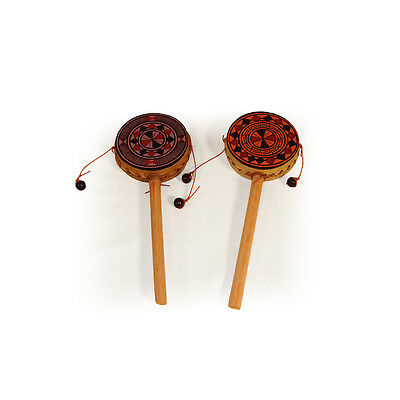 2 Pack Lot Hand Painted Spin Drums~fair Trade~Peru~percussion Music Tambourines