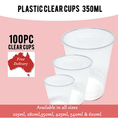 100 Pc Disposable Plastic Cups Clear Cup 350ml Drinking Water Cup Party