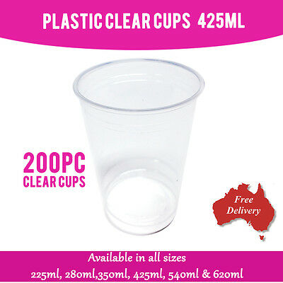 Disposable Plastic Cups Clear Cup 425 ml 200 Pc Drinking Water Cup Party