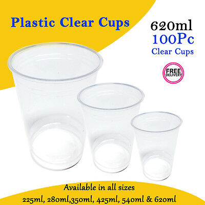 Clear Disposable Plastic Cups 100 Pc 620ml Drinking Water Cup Party Cheap Bulk