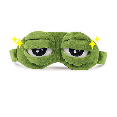 3D Eye Mask With Polyester Fabric Sad Frog Funny Rest Sleep Anime Green