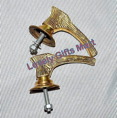 Retro Brass Door Knobs Handles Pair Backing Plates Style