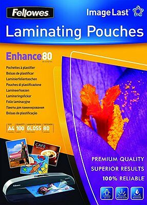 Fellowes Image Last A4 Gloss Finish Laminating Pouch 80 Micron Thickness 100Pack