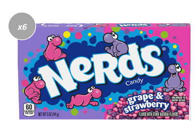909863 BOX OF 12 x 141.7g PACKETS OF NERDS - STRAWBERRY AND GRAPE FLAVOURED!