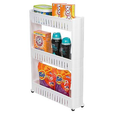 3 Tier Movable Slim Slide Out Kitchen Storage Trolley Rack Stand Cart on Wheels