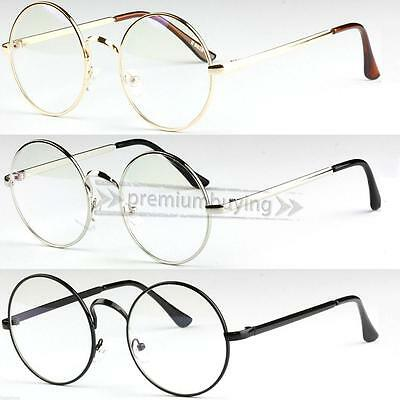 Unisex Big Round Metal Frame Clear lens Vintage Retro Geek Specs Glasses Glass