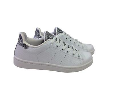 scarpe sneakers basse donna pelle bianca glitter argento Big Star