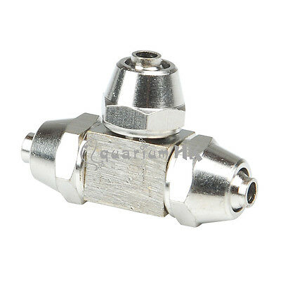 Stainless Connector T Shape 3-Way Aquarium Joint 4mm Tubing Air Splitter Pipe