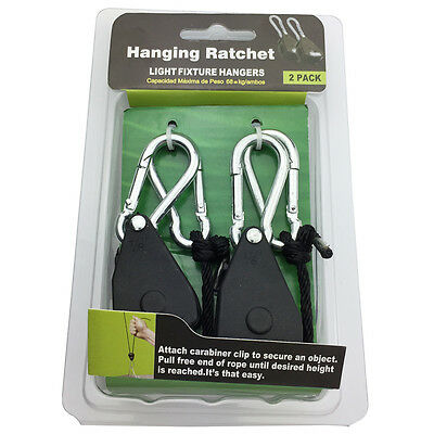 Heavy Duty Adjustable Hydroponics Rope Ratchet Light Reflector Hangers Max 150lb