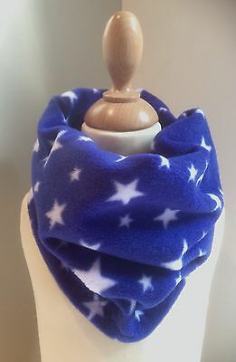 Childrens Royal Blue & White Stars Fleece Winter Neck Warmer Scarf - Handmade