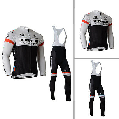 Mens Team Cycling Bike Long Sleeve Jersey Bib Pants Kits Shirt Brace Tights Kits