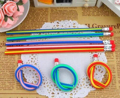 3pcs Colorful Funny Bendy Flexible Soft Pencils With Eraser For Kids Xmas Gift