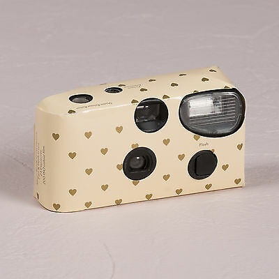Ivory Disposable Cameras with Flash Gold Hearts Design Party 10 Pack