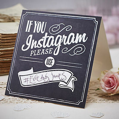 Wedding Table Instagram Camera Cards Vintage Style pack of 5