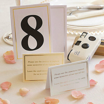 Wedding Camera Cards with Foil Border Pack of 10 Gold and Ivory