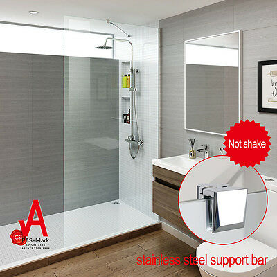 New Frameless Shower Screen Fixed Walk in Panel Tempered Glass Wall mounted