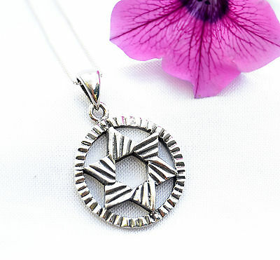 Sterling Silver Necklace & pendant Jewish Star of David Inside Circle israel