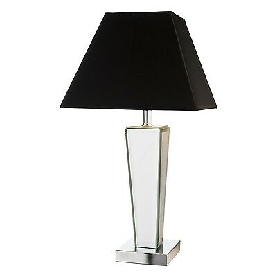 Mirrored Table Lamp - Black Shade - Art Deco Style