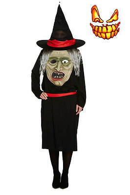 Womens Jumbo Face With Witch Halloween Fancy Dress Costume Mens Adults Outfit