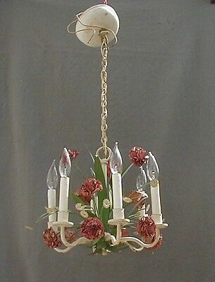 Nice Petite Paint Decorated  6-Arm Brass Chandelier With Leaves And Flowers