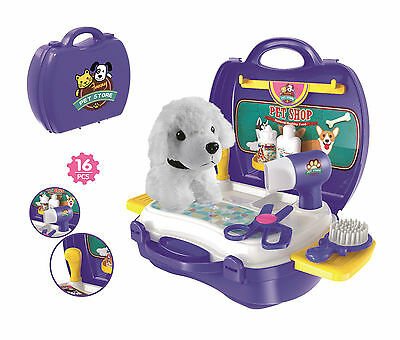 Kids Children Toy Puppy Dog Grooming Play Set Carry Case 16 Piece Christmas Gift