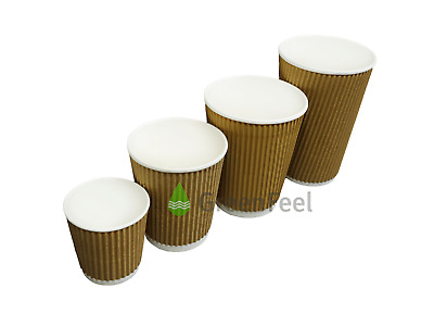 Disposable Ripple Triple Wall Paper Coffee Cups Brown Kraft Cups And Lids