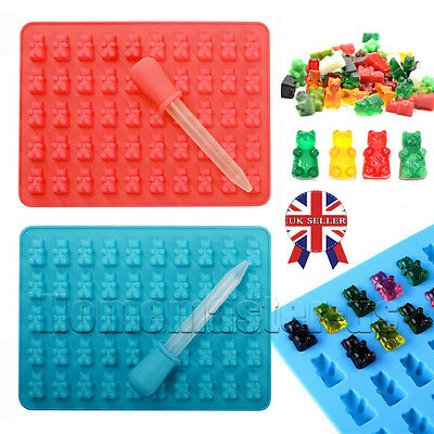 50 Cavity Silicone Gummy Bear Chocolate Mold Candy Maker Ice Tray Jelly Mould UK