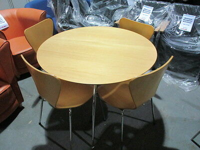 Breakout/Canteen/Bistro Round Beech Table 100Cm Dia With 4 Chairs