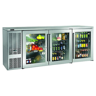 "Perlick BBS84GS-S 84"" Three Section Refrigerated Back Bar Cabinet W/ Glass Doors"
