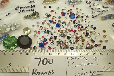 600 HUGE LOT ALL GLASS ROUND Vtg Rhinestone Pointed Back GF Jewelry Craft Repair