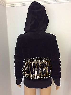 Juicy Couture Girls Black Velour Hoodie Gold Stones Age 4 Years Vgc