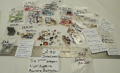 HUGE LOT 290 MIX Vtg Rhinestone Octagon Rectangle Jewelry Craft Repair a Brooch