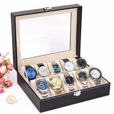 Box Stylish Watch Case Display Organizer 10 Slot Leather Storage Decoration