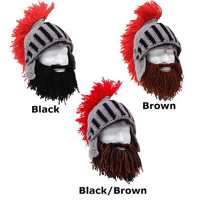 Roman Helmet Barbarian Knight Brown Black Beard Ski Mask With Hat Face Mask NEW