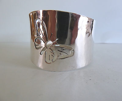 FINE Solid SILVER Napkin RING, Pierced BUTTERFLY. London 1985. Vincent Ashworth