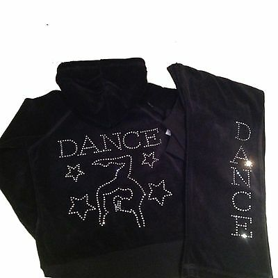 Girls Diamante Gymnastic Dance Velour Tracksuit Age 5 - 13 Years