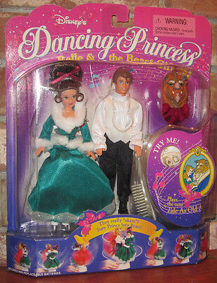 "Disney 6"" Dancing Princess Belle & Prince doll set Mattel beauty and beast 1997"