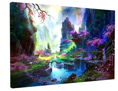 "STUNNING  Abstract Japanese Landscape CANVAS PICTURE WALL ART LARGE 20x30"" 1152"