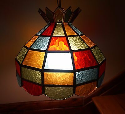 Retro Swag Stained Glass Leaded Chandelier Kitchenette Lighting Ceiling Lamp