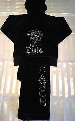 Girls Personalised Diamante Ballet Dance Velour Tracksuit Age 3  - 13 Years