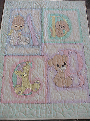 Handcrafted Precious Moment ABC Baby Quilt - ABC/123 Quilted all over - See Pics