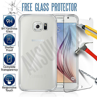 Ultra Thin Clear TPU Gel Skin Case Cover & Tempered Glass for Samsung Galaxy S6