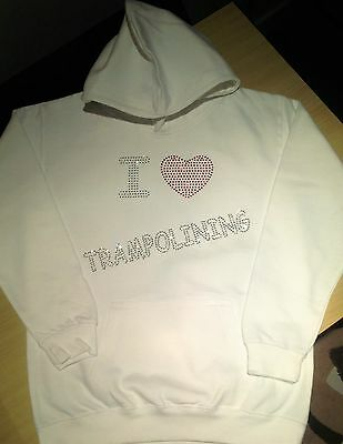 Girls Personalised I Love Trampolining Hoodie age 2 -13 Years  Name and Stars