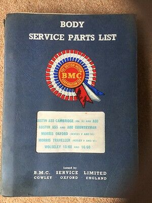 Body Service Parts List Catalogue Austin A55 A60 Morris Oxford BMC Wolseley